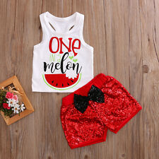 2Pcs Toddler Baby Girl Kids Tank T-shirt Tops+Sequin shorts Pants Clothes Outfit