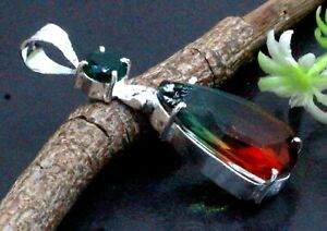 925 Sterling Silver Tourmaline & Chrome Diopside Gemstone Jewelry Pendant Size-2
