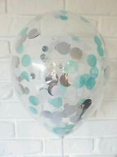 Confetti Balloons 5 x 30cm Clear Mint, White & silver qualatex 1st Birthday