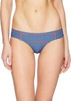RVCA Women's 175545 July Ribbed Cheeky Bikini Bottom BLUE Swimwear Size M