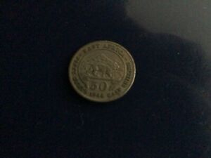 A used 1948 George v1 50 cents east Africa nickel coin