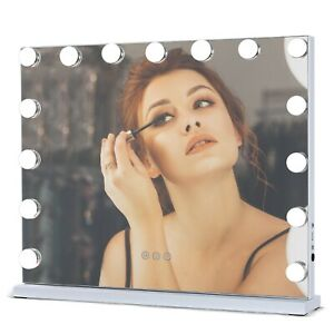 Tabletop Hollywood Vanity Makeup Mirror with 15 Dimmable LED Bulbs Lights White