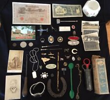 Interesting Job Lot Curios Drawer Finds Collectables Coins Pins Banknotes Badges