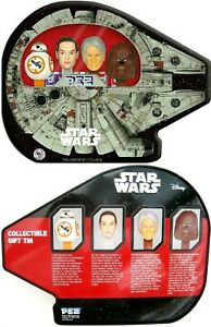Star Wars Millennium Falcon Pez Tin Han Chebacca Princess Leia BB-8 Collectible