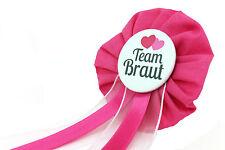 Orden Team Braut JGA Herz Anstecker Button Junggesellinnenabschied pink schwarz
