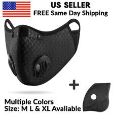 Black Mesh Reusable Dual Air Valve Cycling Sport Face Mask PM2.5 Carbon Filter