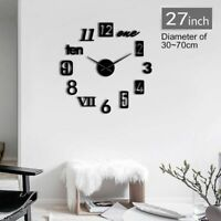 Wall Clock Watch Stickers Self Adhesive Home 3D DIY Quartz Decoration Clocks New
