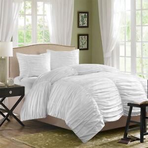 100% Egyptian Cotton 3PCs Gathered Duvet Set 1200 TC Solid Color SUP1