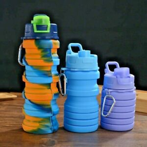 Silicone Water Bottle Portable Foldable Cup Outdoor Sport Travel Camping Lid