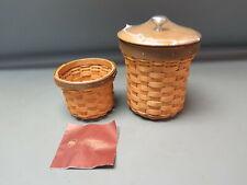 2008 Longaberger Extra Small & Small Crock Basket Combo w/ Lid