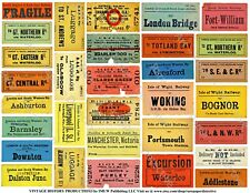 Railroad Luggage Labels, Train Ticket Stub Reproduction Tags, 1 Sticker Sheet