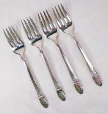 4 First Love Silverplate Salad Forks 1847 Rogers Bros Dessert Fork Vintage