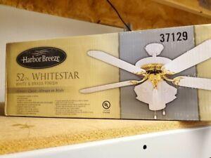 """Harbor Breeze 52"""" WhiteStar 5 Blade White/ Brass Ceiling Fan"""