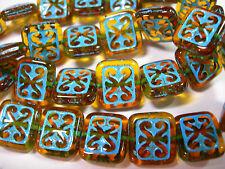 15 Dark Amber Turquoise Wash Czech Glass Rectangle Beads 11x12mm