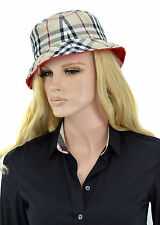 $450 BURBERRY Trench Red Check Double Sided Fedora Women's Hat Size M