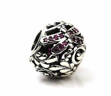 Lochmuster Rot Libellen Anhänger Perle Sterling Silber Mit Cubic Zirkonia UK