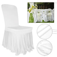 White Dining Chair Seat Covers Slip Stretch Wedding Party Removable Decor