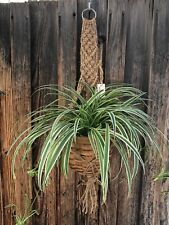 Macrame plant hanger Boho vintage style handmade No beads Jute