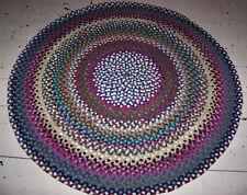 """Vintage Antique Hand Handmade Circle Wool  Braided Rug 4'6"""" Diameter"""