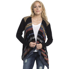 Elan Womens High/Low Striped Cardigan Sweater Black Multi M #NKUS6-1086