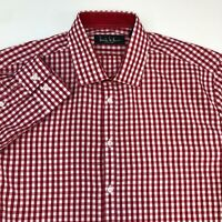 Nicole Miller Dress Shirt Men's 16-16.5 Long Sleeve Red White Checkered Casual