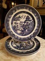 Set of 4 Johnson Bros. Willow, Blue, England 1883c, Dinner Plates, new