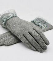 Elegant Women's Lace Gloves Wool Autumn Winter Fashion Warmer Mitten Vintage New