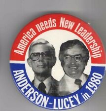 3.5 inch JOHN ANDERSON LUCEY 1980 campaign pin THIRD party #D Campaign pinback