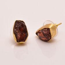 Raw Garnet Gemstone Stud Earrings, Gold Plated Brass Jewelry BSE325