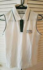 NEW-Michael Collins Irish Whiskey Golf Shirt White Womens Medium Embroidered