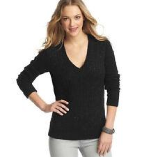 Ann Taylor Loft Mini Sequin V neck Cable Sweater Black XS NWT