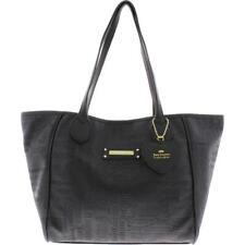 Juicy Couture Womens Love Me Not Black Logo Tote Handbag Purse Large BHFO 6939