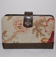 Brighton ONE WORLD Genuine Leather Wallet w Floral Fabric Notepad Heart Accents