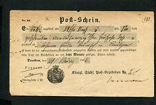 Saxe - Postschein Dresden Ortsdruck par la 29.3.1863 (DK-8)