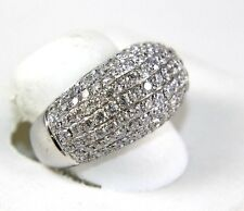 Round Cluster Diamond Pave Dome Ring Band 14k White Gold 3.82Ct