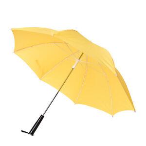 Yellow Black Windproof Folding Sun Travel Open Close LED Straight Umbrella