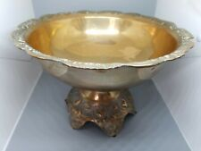 Beautiful Brass Plated  Fruit Bowl  Footed Pedestal Centerpiece Ornate Vintage