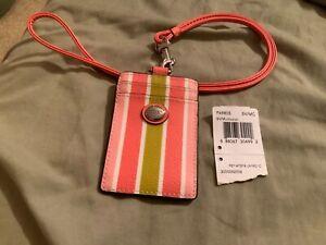 NWT COACH Multicolored Peyton Stripe Lanyard ID Case Badge Holder #69805