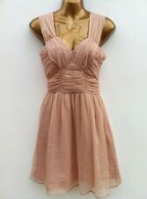 NWOT ATMOSPHERE Nude Pink & Gold Shimmer Dress Size 8 Sheer Chiffon