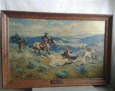 Charles CM Russell LOOPS AND SWIFT HORSES ARE SURER Print Oil On Canvas Painting