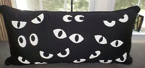 Cynthia Rowley Curious Pillow Spooky Eyes Glow in The Dark Black Halloween NWT