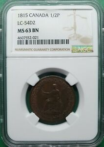1815 CANADA 1/2 PENNY TOKEN LC-54D2 NGC MS 63 BN