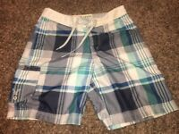 American Eagle Outfitters Mens Swim Shorts Blue White Plaid Mesh Lined Trunks