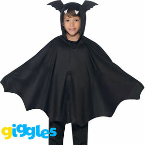 Childs Bat Cape + Wings Costume Boys Girls Vampire Fancy Dress Halloween Outfit