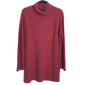Eileen Fisher 100% Cashmere Tunic Sweater Funnel Neck Women's Size Medium Red