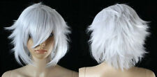 Hot Sell New Short Silver White Wavy Cosplay Women's Lady's Hair Wig Wigs + Cap