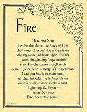 Element of FIRE  Invocation Page Poster Guidandce Wicca Pagan 8 1/2 x 11  Art