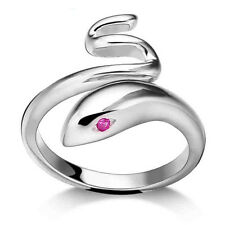 Silver Plated Opening Adjustable Snake Animal Finger Ring Women's Jewelry GiftYJ