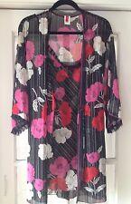 Josie Natori Robe and Slip Set Bright Bold Color Flowers Size M