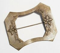 Antique Victorian Brass Sash Brooch Raised Flowers &Leaves Floral Design Pin